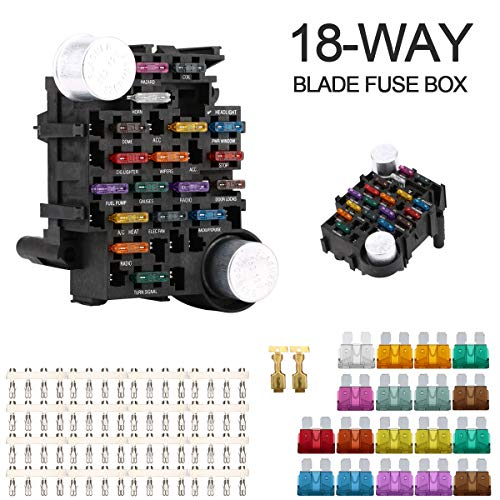 Jiaying 18-Way Fuse Box Holder 30A Per Circuit with LED Indicator for Automotive Car Boat Marine SUV ...