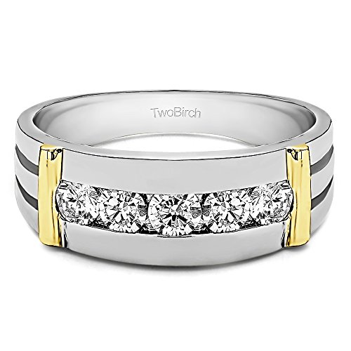 Two Tone Sterling Silver Cool Mens Ring Diamonds (G-H,I1-I2)(0.17Ct) Size 3 To 15 in 1/4 Size Intervals