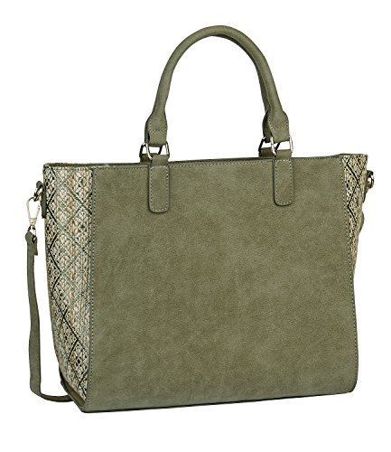 Top Straw Shoulder Green Woven SIX 463 Sides Bag Handle of 219 Bage Removable 1 Suede pc Shopper Faux Strap Tote waOCxqSYa