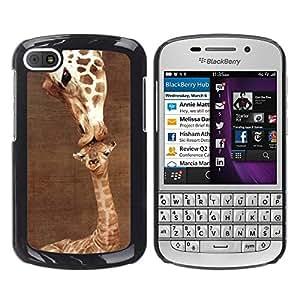 Jirafa linda Madre Mamá Día de Brown- Metal de aluminio y de plástico duro Caja del teléfono - Negro - BlackBerry Q10