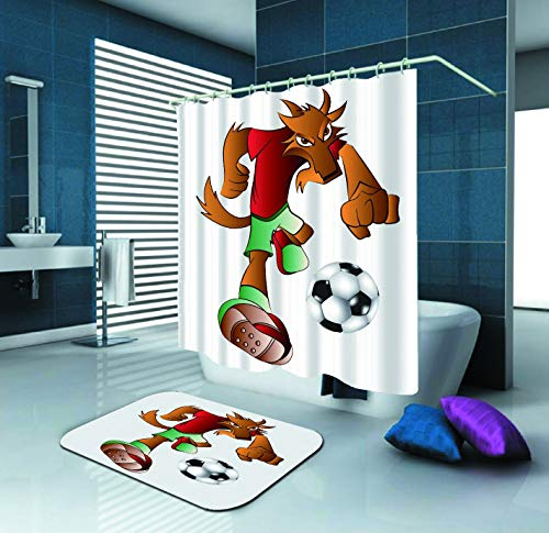 (SARA NELL Shower Curtain Dog Mascot Playing Football Waterproof Polyester Fabric Shower Curtain (72