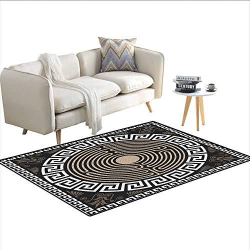 Carpet,Grecian Fret and Wave Pattern on Dark Background Antique Retro Swirls,Non Slip Rug Pad,Dark Brown Coconut Tan -
