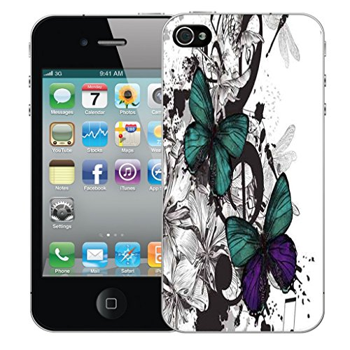 Mobile Case Mate iPhone 4 Silicone Coque couverture case cover Pare-chocs + STYLET - Delicate Butterflies pattern (SILICON)