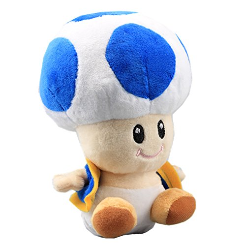 uiuoutoy Super Mario Bros. Blue Toad Plush Mushroom -