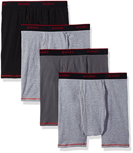 Hanes Men's 4-Pack Cool Comfort Breathable Mesh Boxer Brief Grey, Assorted, Medium ()