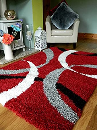 Red Grey Black Silver Cream New Modern Thick Shaggy Rugs Large Small