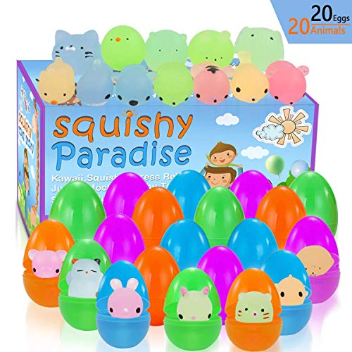 Easter Eggs Filled Mochi Squishy Toys Glow in The Dark for Easter Party Favors - 20 Pack Plastic Easter Eggs and 20 Pack Mini Kawaii Cute Animal Squishies Stress Relief -