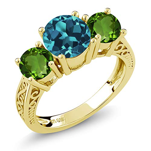 Gem Stone King 2.70 Ct London Blue Topaz Green Chrome Diopside 18K Yellow Gold Plated Silver Ring (Size ()