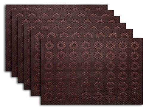 Placemat Set of 4/6 Reversible Circles Round Style Kitchen Table Decor Woven (Table Pockets Set)