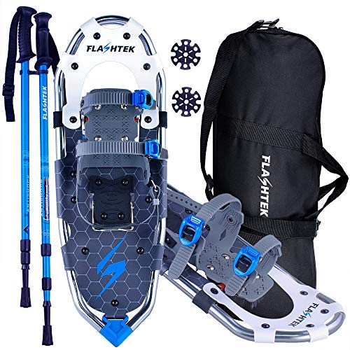 FLASHTEK 25''/30'' Snowshoes for Men and Women Lightweight Snowshoes with Poles for Hiking Heel Lift Riser for Mountaineering + Free Carrying Bag