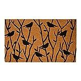 J&M Home Fashions Natural Coir Coco Fiber Non-Slip Outdoor/Indoor Doormat, 18x30'', Heavy Duty Entry Way Shoes Scraper Patio Rug Dirt Debris Mud Trapper Waterproof-Bird & Trees