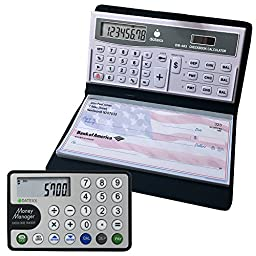 Datexx DB-403 3-Memory Checkbook Calculator + Credit Card Money Manager Combo Pack