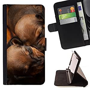 Puppies Sleeping Brown Chesapeake Dog - Painting Art Smile Face Style Design PU Leather Flip Stand Case Cover FOR Apple Iphone 6 @ The Smurfs
