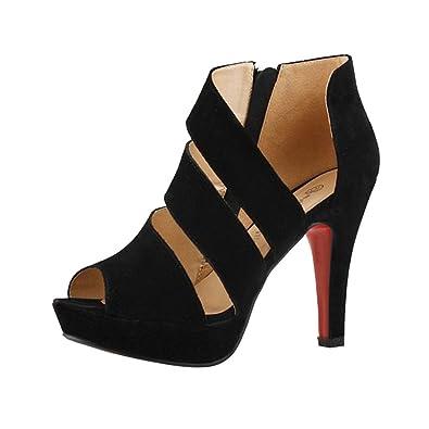 Solike Escarpin Femme Été Escarpins Bride Cheville Sexy Talon Aiguille  Plateforme Epais Fermeture Eclair Chaussures Club 3c698dcf60a7