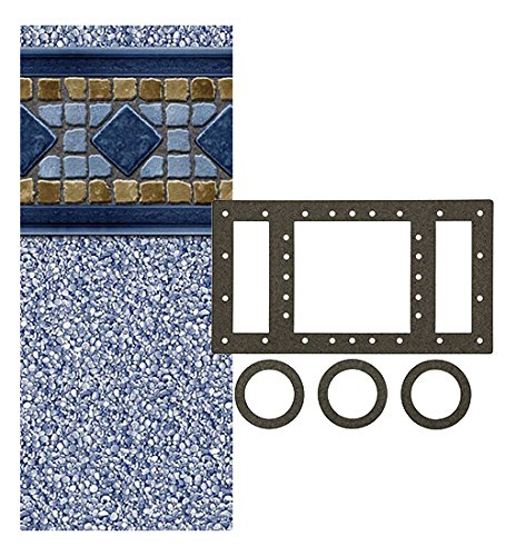 Smartline Laguna 24-Foot Round Liner | UniBead Style | 52-Inch Wall Height | 25 Gauge Virgin Vinyl | Designed for Steel Sided Above-Ground Swimming Pools | Universal Gasket Kit Included