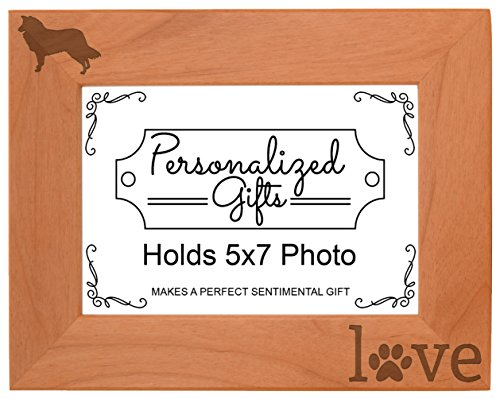 Border Collie Gifts Paw Prints Dog Owner Love Natural Wood Engraved 5x7 Landscape Picture Frame Wood (Collie Pictures compare prices)