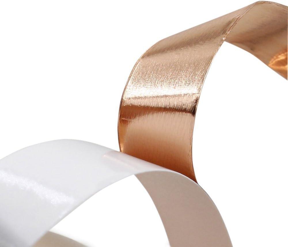 Schneckenschutz Sarplle Kupferband 25M x 50mm Selbstklebend Klebeband Kupferfolienband f/ür EMI-Abschirmung elektrische Reparaturen Handwerk