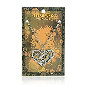 AOLO Vintage Silver Heart Pendant Necklace Gear Charm Steampunk Necklaces