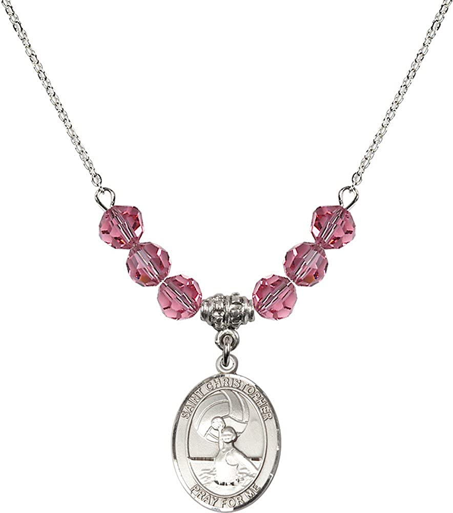 18-Inch Rhodium Plated Necklace with 6mm Rose Birthstone Beads and Sterling Silver Saint Christopher//Water Polo-Women Charm.