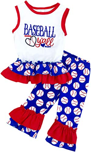 Boutique Baby Girls 4th July Game Day Patriotic Baseball Y'all Ruffle Capri Set - Ruffle Set Capri