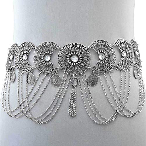 - Nicute Coin Tassel Waist Chain Rhinestone Body Chains Boho Body Jewelry for Women and Girls (Silver)