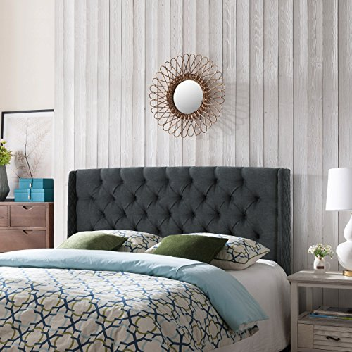 Great Deal Furniture 303697 Emma Wingback Queen/Full Tufted Dark Grey Fabric Headboard, Gray/Black (Headboard Winged)