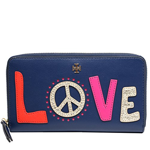 Tory Burch Wallet Leather Continental Zip Love (Navy Sea) by Tory Burch (Image #1)