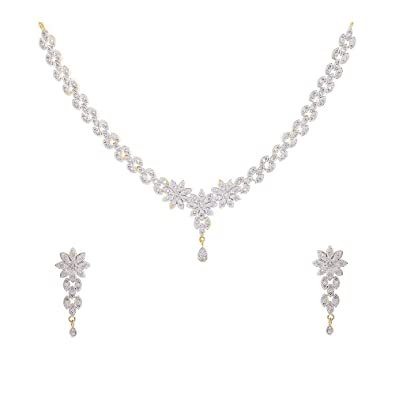 Buy Geode Delight Gold American Diamond Necklace With Earrings Set For  Women Online at Low Prices in India  b6fe9f10d