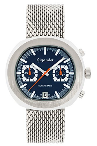 Gigandet Men's Quartz Wrist Watch Supergraph Chronograph Analogue Date Silver Blue G11-003