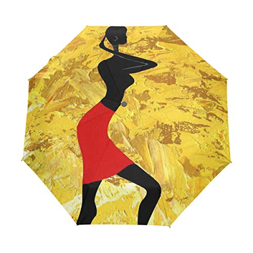 Africa Girl Auto Open Close Handle Umbrella Cute Woodproof Compact Rain Umbrella by THENAGD
