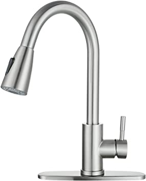 Wowow Single Handle High Arc Pull Out Sprayer Kitchen Faucet Lead Free Stainless Steel Kitchen Sink Faucet 360 Swivel Modern Brushed Nickel Pull Down Head Commercial Faucets With Deck Plate Tools Home