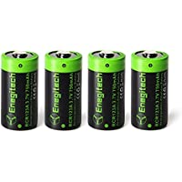 Enegitech CR123A Rechargeable Lithium 16340 Battery, 3.7V RCR123A Li-ion 750mAh Batteries for Arlo Camera Flashlight Camcorder Toy Torch, 4-Pack