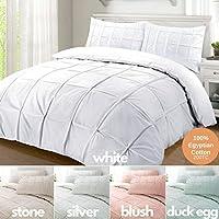Nimsay Home Cartier Adornado 100% algodón egipcio 200 Hilos Percal Pizca de la vendimia Pintuck Plisado Arrugado Funda nórdica Juego de sábanas de cama - Doble - Plata: Amazon.es: Hogar