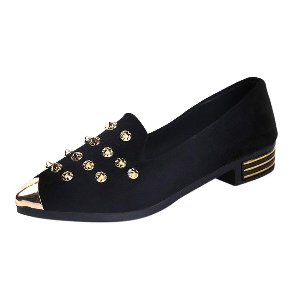 Nevera Women's Pointed Toe Ballet Flats Rhinestone Comfort Slip On Walking Shoes Black