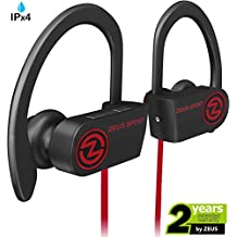 Bluetooth Headphones ZEUS SPORT (Improved model 2017) Best Wireless Headphones Sweatproof Noise Isolating Earbuds with Mic Sports Headphones for Running Workout Earbuds for Gym for Men Women