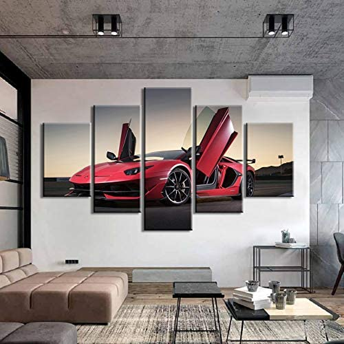mmwin HD Poster 5 Piezas Pinturas sobre Lienzo Sport Car Prints Wall Art Poster Living Room Home Decor: Amazon.es: Hogar