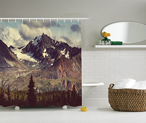 Alaska Mountains Decor by Ambesonne, Arctic Landscape Wilderness and Hiking Mountain in USA Picture, Polyester Fabric Bathroom Shower Curtain Set with Hooks, 84 Inches Extra Long, Green Blue