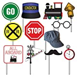 Havercamp Railroad Photo Booth Props, Party Decorations - 12 Count