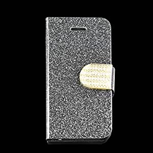 IC ICLOVER Luxury Wallet Flip Magnetic Glitter Coated Bling Rhienstones Diamonds Leather Case Cover for Apple iPhone 5/5S-Black