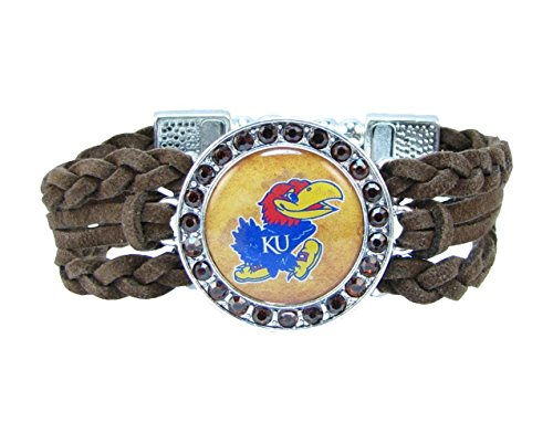 Kansas Jayhawks Multi Braided Brown Leather Crystal Bracelet Jewelry Blue KU