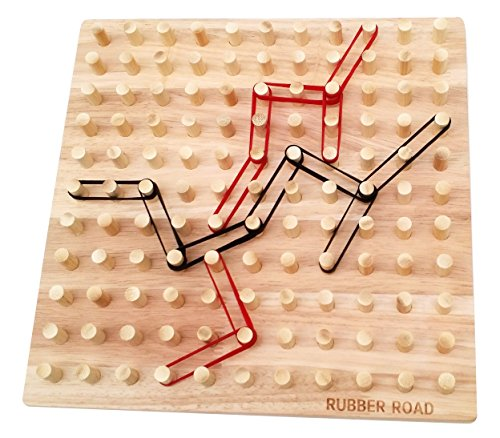 Band Game Toy : Rubber road band wooden board game pegboard and