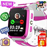 [Free SIM Card]2019 Kids Game Smart Watch Phone,Birthday Gift for 3-14 Age Girl Boy 2 Way Call SOS 1.54'' Kid Smartwatch with 9 Puzzle Game Camera Alarm Clock Touch Screen kids Electronic Learning Toy