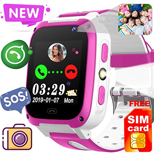 ([Free SIM Card]2019 Kids Game Smart Watch Phone,Birthday Gift for 3-14 Age Girl Boy 2 Way Call SOS 1.54'' Kid Smartwatch with 9 Puzzle Game Camera Alarm Clock Touch Screen kids Electronic Learning Toy)