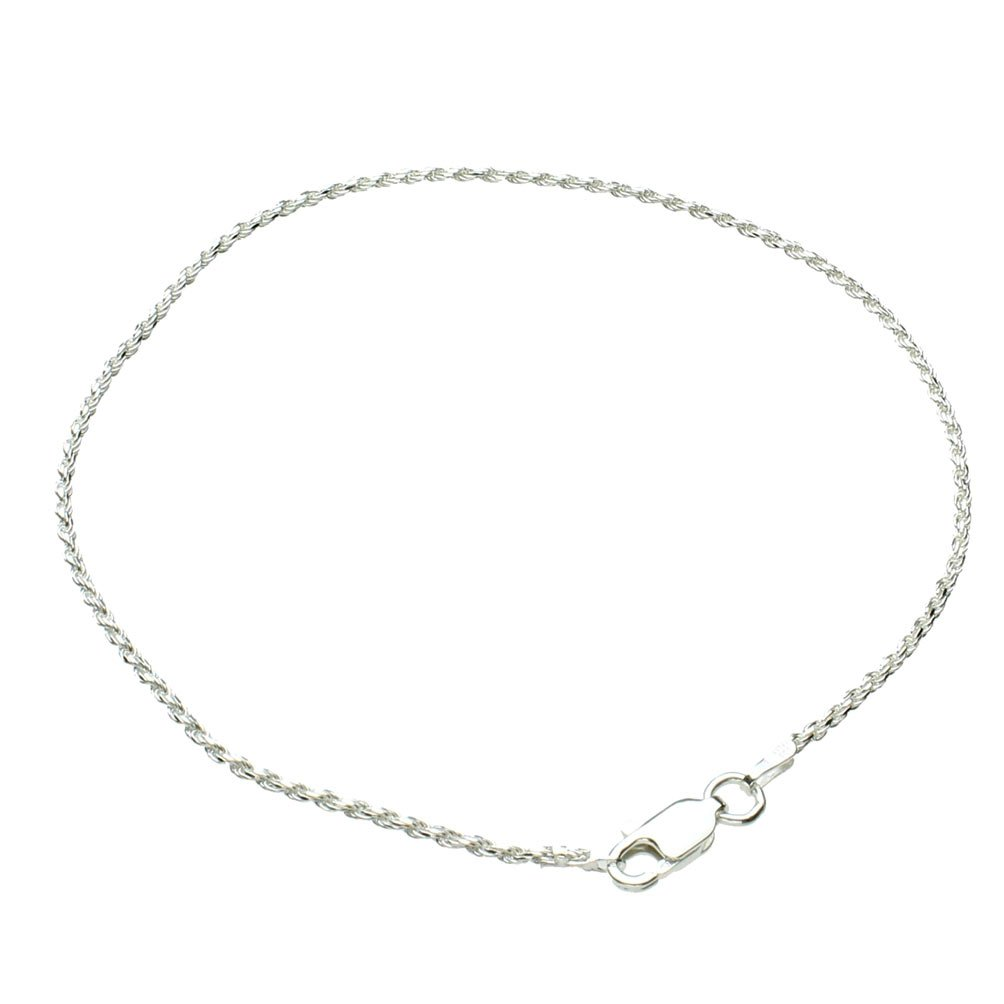 Joyful Creations Sterling Silver 1.5mm Diamond-Cut Rope Nickel Free Chain Bracelet Anklet Italy 10