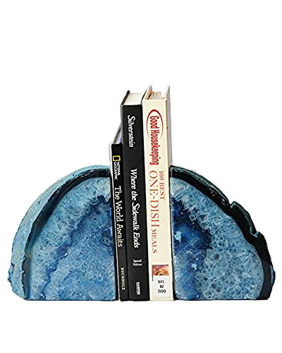 AMOYSTONE Blue Agate Bookends