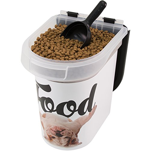 Paw Prints 15 Pound Pet Airtight Food Storage Container, Carlos the Bulldog Design, Includes Snap-In 1 Cup Measured Scoop, 12.5 x 9.75 x 13.38 Inches, 37716