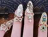 Beauty 4pcs/lots Nail Art Charms Bowknot Crown Crystal Nail Decoration Nail Finger Rings