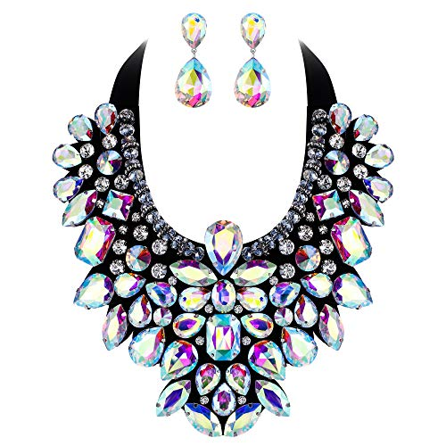 Flyonce 8 Colors Women's Stunning Crystal Costume Statement Necklace Earrings Set for Banquet, Prom Iridescent Clear AB