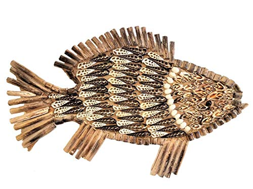 - All Seas Imports X-Large Gorgeous Custom HANDCARVED Fish with Inlaid Shell & Wall Hanger!