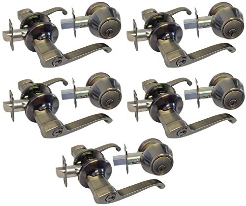 (Antique Brass Entry Entrance keyed Levers with Matching Single Cylinder Deadbolts Combo Keyed Alike 835AB (5 Set))